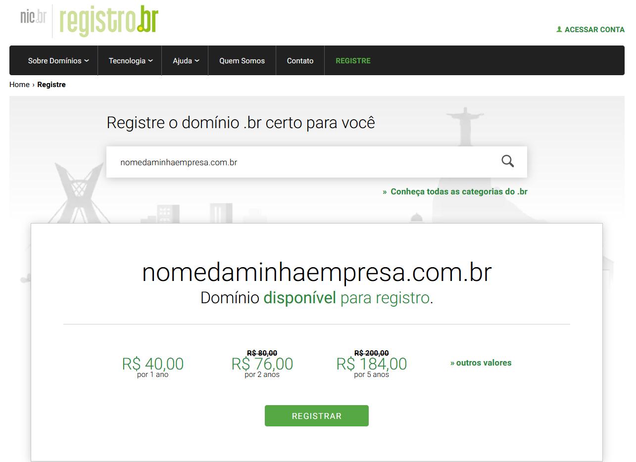Registro de domínio na Registro.br